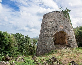 St John USVI Fine Art Landscape Photography, Caribbean Home Decor, Peace Hill Ruin, Travel Photography, Colorful Wall Art, 8x10 Print, 11x14