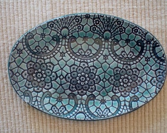 Blue green, oval, lacey, textured, porcelain tray