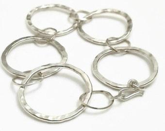 Silver Eternity Bracelet - Silver Chain Link Bracelet - Hammered Sterling Silver Bracelet - Sterling Silver Bracelet Chain