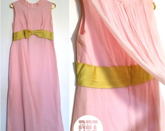 Beautiful Dreamy Mod Bubblegum Pink Chiffon Party Dress with Tail and Green Satin Bow!