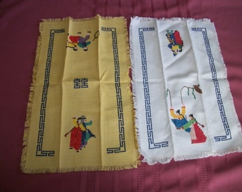 Vintage Two Small Table Runners/Placemats Petite Point hand enbroidered