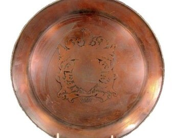 Antique COPPER SUGG Tray Charger Coat of Arms Vintage Sigma Letter Mark