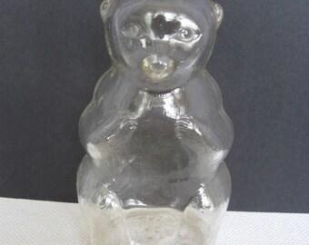 Snow Crest Vintage Glass Bear Bottle Bank