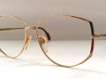 80s Vintage German Metzler Art Deco Cat Eye Ladies Womens Eyeglasses