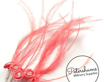6 Diamante & Ostrich Embellished Miniature Satin Flower Picks for Millinery - Coral