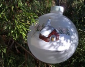 """4"""" Glass Ornament/Handpainted """"Little Red Church w/ Stained Glass"""""""