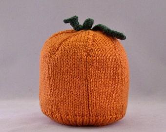 Pumpkin Baby Hat, Handmade, Hand knit, Pumpkin with Stem and Leaf Attached, Halloween Pumpkin Hat, Size 0 - 6 months