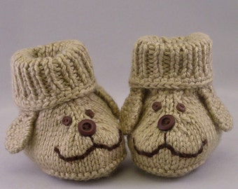 Hand knit Amigurumi Baby Booties Dog Puppy Faces Size 3-6 months Handmade