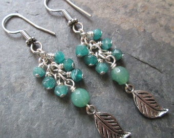 Green Aventurine Earrings with Silver Leaf Charms ~ Metaphysical/Heart Chakra Jewelry