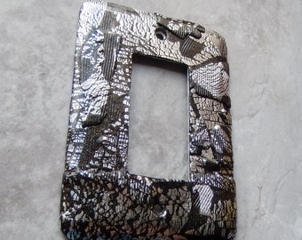 Black and Silver Abstract, rocker switch plate, polymer clay, silver leaf, sealer, modern