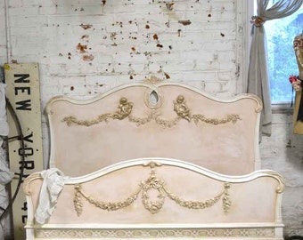 SOLD Do Not Purchase Painted Cottage Romantic French One of A Kind Full / Double Bed BD735