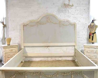 French Bed Painted Cottage Shabby Chic Farmhouse Romantic Bed Queen Bed King Bed