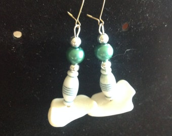 Dangle Beaded Earrings Greens # 9