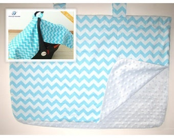 chevron minky Baby Car Seat Canopy cover girl boy shower gift blue