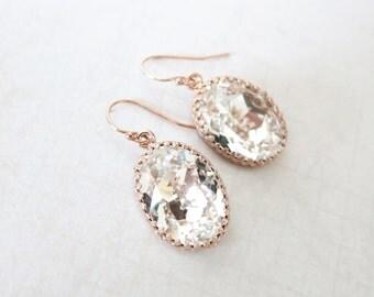 Rose Gold Clear Crystal Earrings ROSE GOLD FILLED Ear wires, Swarovski Crystal Oval Bridal Bridesmaid Wedding Vintage Earrings