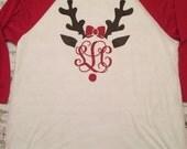 Ladies Long Sleeve Red White Raglan Tee. Reindeer Monogram. Heat Transfer VInyl. Christmas Personalized Shirt. Ladies Women Girls