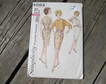 Simplicity 4564 Dress and Jacket Pattern, Size 14