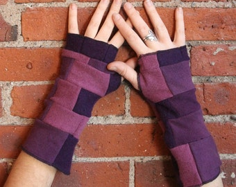 100 percent cashmere- purple patchwork - fingerless gloves- armwarmers- guantlets- jeweltones- fall fashion- cashmere texting gloves