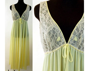 Lucie Ann Claire Sandra nightgown yellow gown lace bodice empire waist Size 36