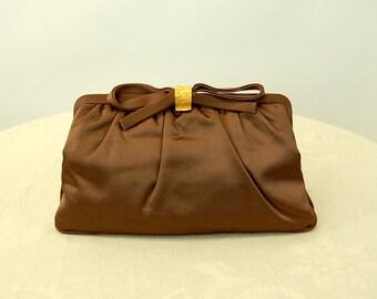 1950s clutch purse brown satin evening bag Magid bag mirror included rhinestone clasp