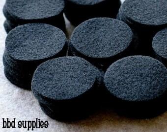 All Black - 1.25 inch Circles - Die Cut Felt Circles