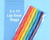 "Bulk Long Skinny Candy Bags, Sweet Bags, Wedding Favor Bags, Candy Buffet Bags, 3"" x 11"" Lip Seal Bags, Party Favor Bags, Pretzel Bags (100)"