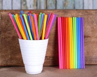 "Rainbow Lollipop Sticks, Small Rainbow Cake Pop Sticks, Plastic Lollipop Sticks, Lolly Sticks, Colored Lollipop Sticks  (4.5"" - 50ct)"
