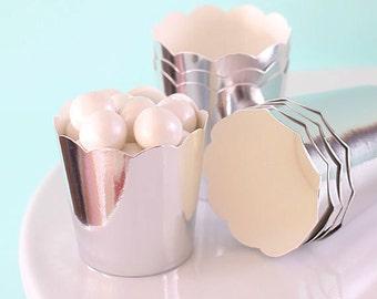 Mini Metallic Silver Baking Cups, Silver Cupcake Cups, Wedding Favor Cups, Christmas Baking Cups, Mini Candy Cups, Mini Treat Cups (24)