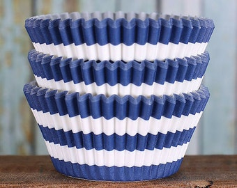 Navy Striped Cupcake Liners, BakeBright Cupcake Liners, Navy Cupcake Liners, Baking Cups, Cupcake Cases, Cupcake Wrappers (50)
