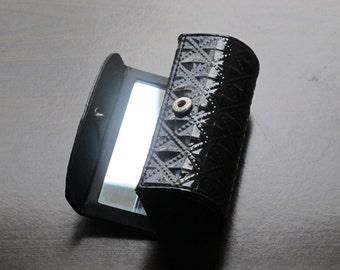 Lipstick Case with Snap Button Closure and Mirror / Vintage Black Glossy PU Leather Diamond & Bead Border Pattern, Chapstick Lip Balm Holder
