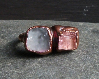 Raw Crystal Ring Rough Stone Jewelry Copper Tourmaline Ring Topaz Ring Copper Gemstone Size 4.5 Birthstone Ring