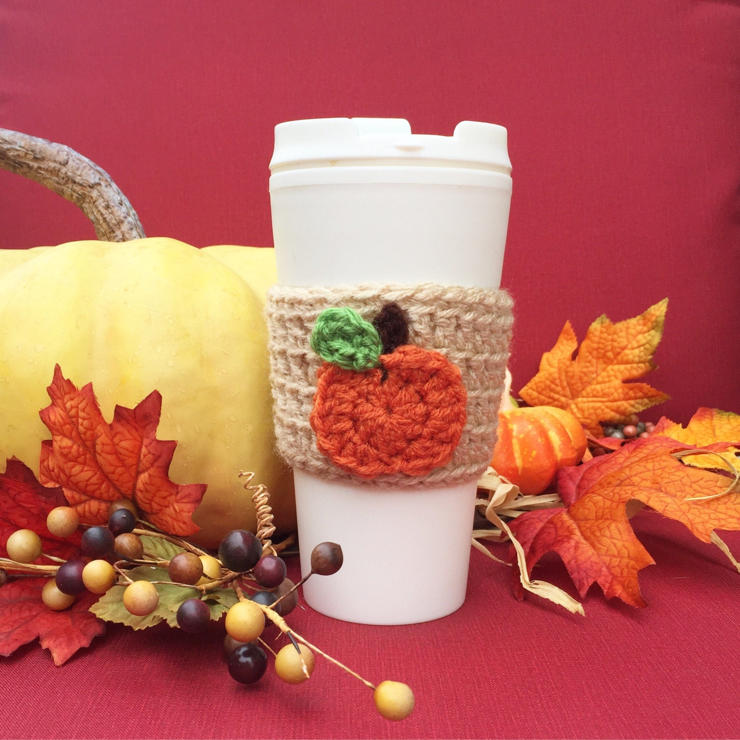 crochet coffee cozy crochet cozy with pumpkin coffee