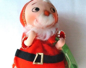 1970's Stuffed Santa Claus with his Sack Christmas Ornament Decoration - Vintage Doll - Made In Japan