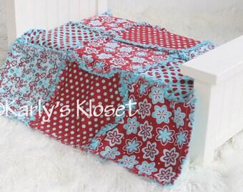 Baby Quilt, Newborn Blanket Prop, Aqua & Red Quilt, Newborn Rag Quilt, Baby Girl Props, Newborn Photography Props, Layering Blanket Prop