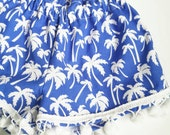 High Waisted Wide Leg Shorts- Pom Poms - Baby Toddler Girls - Bloomers Shorties - Spring Summer - Royal Palms