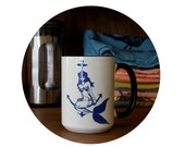 Mermaid and Anchor Cup Coffee Mug, Sublimated By Hand, Warm Beverage, Tea Mug, Funny, Housewarming Gift, Nautical Ocean, Sea House, Tattoo