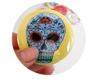 Hand Made Sugar Skull Pinback Button, Backpack Decoration, Day of the Dead, Mexican Folk Art, Yellow and Turquoise, Badge, Stocking stuffer