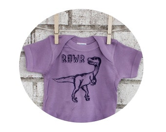 "Dinosaur Baby Onepiece, ""RAWR"" velociraptor,  cotton baby bodysuit in Lavander, Short Sleeved Infant Snapsuit, Baby Girl Baby Shower Gift"