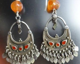 Gypsy Silver Carnelian Fringed Earrings