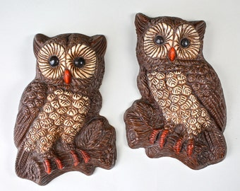 Vintage Brown Owl Wall Hangings Rustic Owl Decor Set Of 2 Owls 1970s