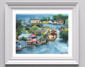 Three 20x30 Fine Art Prints of Honduran Cityscapes, Watercolor on Paper