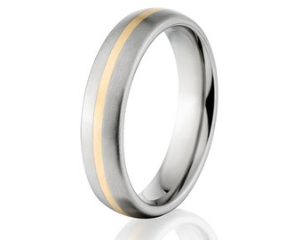 New 5mm Titanium Wedding Ring With 14k Yellow Gold Inlay- 5HR11GP-14KINLAY