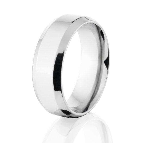 New 8 mm Beveled Cobalt Ring, Comfort Fit Band Cobalt Weddin Band, USA Made Cobalt Jewelry : COB-8B-P