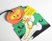 Pumpkin Head Ghost - Retro Halloween - Gift Tags - Set of 3 - Black Bats - Trick Or Treat - Costume Tag - Spooky Fun  - Halloween Night