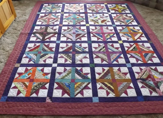 Twin Size Quilt Handmade String Tulip Quilt