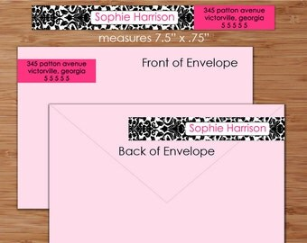 Damask Little Skinnies Custom Wrap Around Envelope Labels