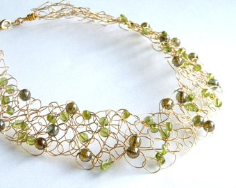 Green and Gold Necklace, Peridot Necklace, Gold Necklace, Bridal Necklace, Mother of the Bride, Crochet Necklace, Special Occasion