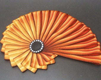 Rust Ombre Chambered Nautilus Cocarde Cockade With Vintage Czech Button