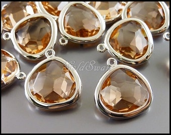 2 pretty peach blush colored faceted triangle glass stone with smooth bezel, glass pendants 5143R-PE