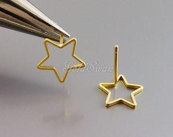 4 pcs small 10mm upside down open star earrings, star earrings, star jewelry, gold star earrings 1073-MG-10 / ver. 1